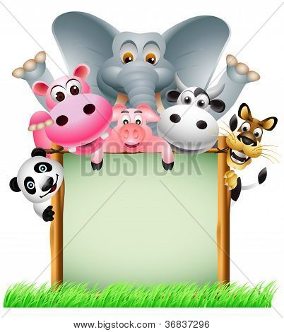funny animal cartoon with blank sign