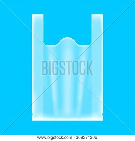 Bag Plastic Clear Isolated On Blue, Clear Plastic Bag For Clip Art, Plastic Handle Bag Transparent