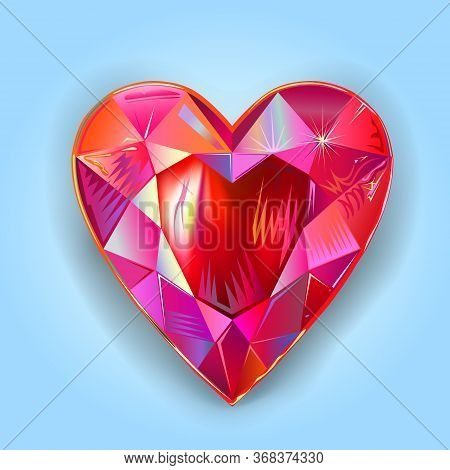 Heart Cut Gemstone Motif Pattern Shape On Blue Background, Vector Illustration