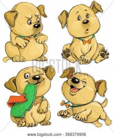 Funny Cartoon Sketch Of A Playful Puppy. Four Moods Of A Dog. Suspicion, Boredom, Criminal, Happy