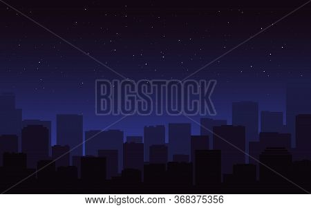 City Silhouette Night. Dark Blue Cityscape Skyline. Urban View, Buildings In The Fog. Starry Night S