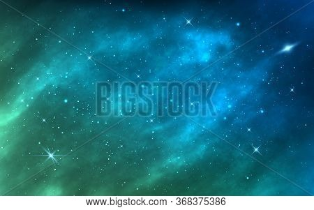 Space Background. Bright Milky Way. Realistic Cosmos Texture With Color Galaxy And Shining Stars. Ma