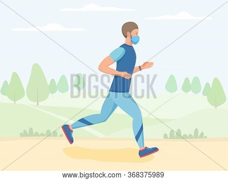 Men In Mask Running Outdoor, Jogging And Training In Park, Physical Activity Outdoors, Flat Vector I
