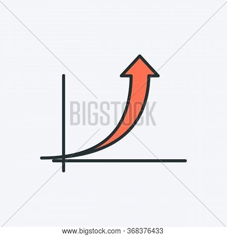 Graph With An Up Arrow Icon. Vector Illustration Of A Graph Chart With Up Arrow. It Represents Busin