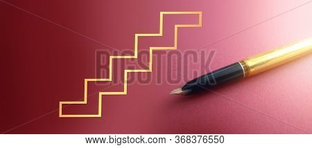 Stairs In Gold On Dark Pink And Luxury Fountain Pen. Symbol Of Successfull Career. Career Achieving