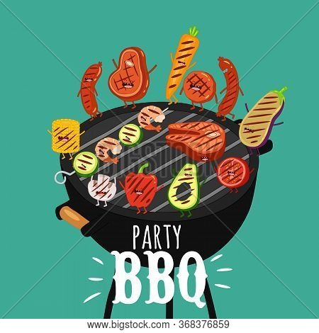 Barbecue Roaster Food Funny Party. Vector Illustration.