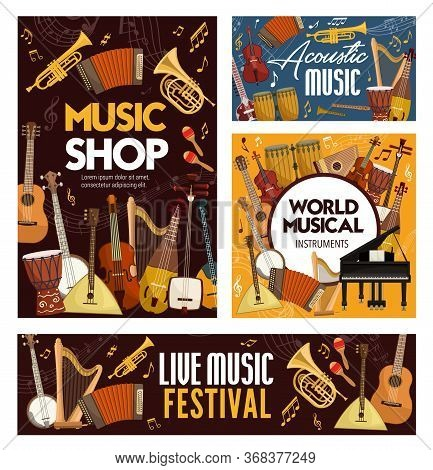 Concert, Festival Or Shop Of Musical Instruments . Vector Guitar, Piano, Violin, Drum And Harp, Trum