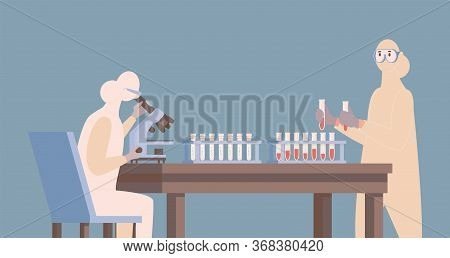 Doctor Or Nurse In Protective Suit Developing Vaccine Against Coronavirus Vector Flat Illustration.