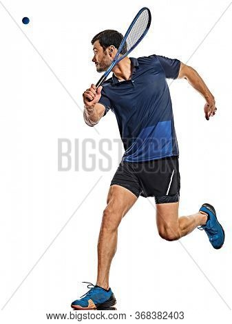 one caucasian mature man practicing squash player in studio isolated on white background