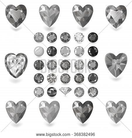 Heart Cut Gemstone Motif Pattern Shape Set On White Background, Vector Illustration