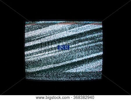 Glitch And Digital Clock On The Screen. Glitch Art. Digital Errors. Digital Artifacts. Pixel Noise.
