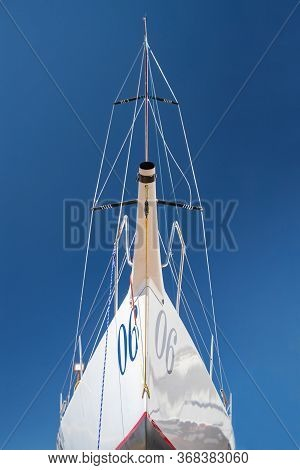 Russia, St.petersburg, 26 May 2020: Port Hercules, The Sailboats Stand On Supports, The Bottom View,