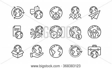World Business Line Icons Set. Financial Transactions, Translate Language, Outsource Business. Inter