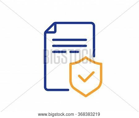 Insurance Policy Line Icon. Risk Coverage Document Sign. Policyholder Symbol. Colorful Thin Line Out