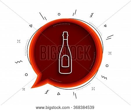 Champagne Bottle Line Icon. Chat Bubble With Shadow. Anniversary Alcohol Sign. Celebration Event Dri