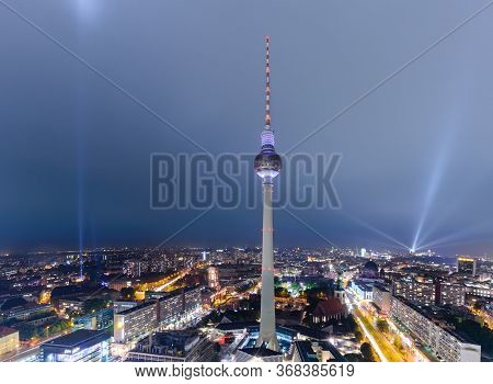 Berlin, Germany - 5 Oct 2013: The Fernsehturm, A Famous Berlin Landmark Is Lit During The Light Fest