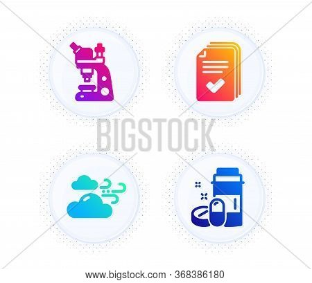 Microscope, Windy Weather And Handout Icons Simple Set. Button With Halftone Dots. Medical Drugs Sig