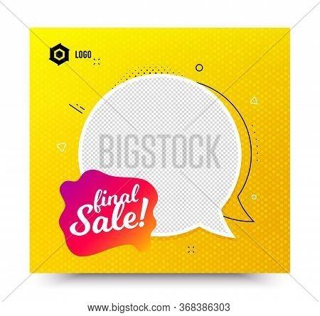 Final Sale Badge. Yellow Banner Template. Discount Banner Shape. Coupon Bubble Icon. Social Media Ba