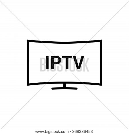 Iptv Vector Line Icon. Ip Tv Video Channel Box Concept Icon.