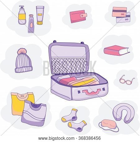 Set Of Vector Pictures Of Luggage, Clothes On A Blue Background. We Pack In A Suitcase For Travel On