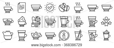 Set Of Latte, Frappe And Cappuccino Icons. Coffee Types And Tea Icons. Espresso, Doppio And Cafe Cre