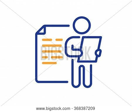 Job Interview Document Line Icon. Cv File Page Sign. Office Workflow Symbol. Colorful Thin Line Outl