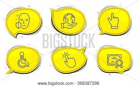 Face Protection Sign. Diploma Certificate, Save Planet Chat Bubbles. Disabled, Touchpoint And Click
