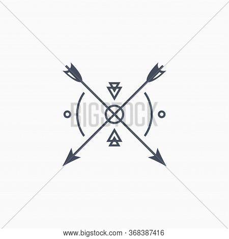 Hipster Arrow Premium Logo. Arrowhead Minimal Badge Hipster Logo Icon