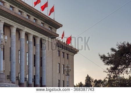 Red Banners Atop The National People`s Congress In Beijing, China