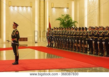 Beijing / China - November 26, 2015: Guard Of Honor Of The People's Liberation Army Of The People's