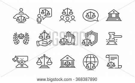 Court Line Icons Set. Judge, Scales Of Justice And Lawyer. Hammer, Law And Petition Document Set Ico