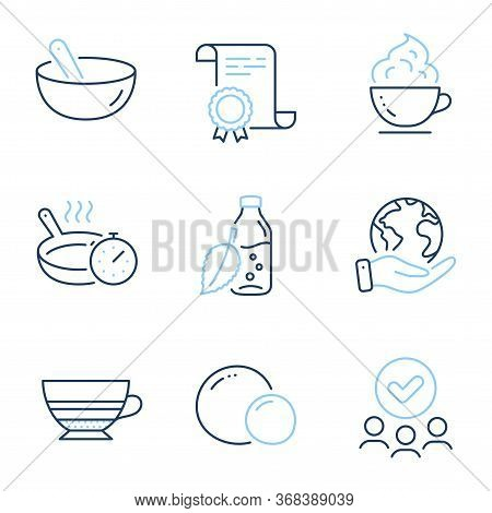 Coffee Cup, Cooking Mix And Frying Pan Line Icons Set. Diploma Certificate, Save Planet, Group Of Pe
