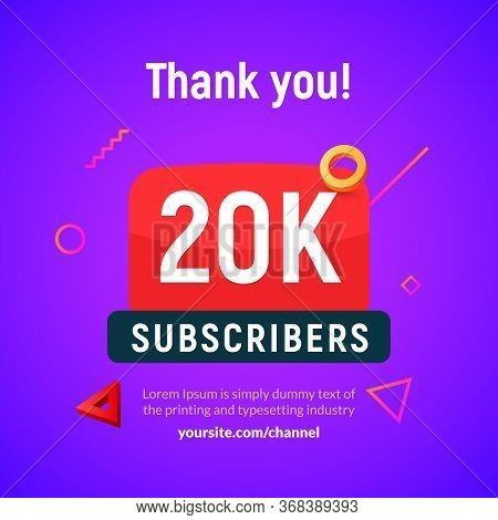 20000 Followers Vector Post 20k Celebration. Twenty Thousands Subscribers Followers Thank You Congra