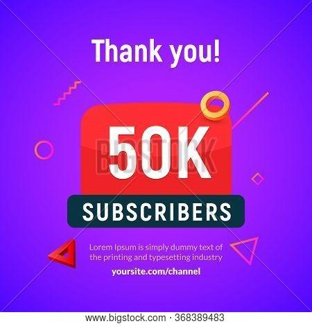 50000 Followers Vector Post 50k Celebration. Fifty Thousands Subscribers Followers Thank You Congrat