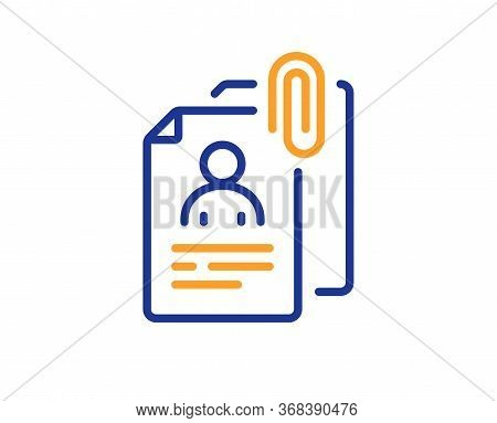 Interview Documents Line Icon. Cv File Attachment Sign. Office Hr Symbol. Colorful Thin Line Outline