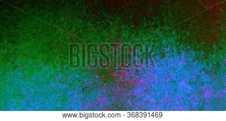 Blue Green Red Spots And Splashes On A Black Background. Abstract Colored Spots. Background For Grap