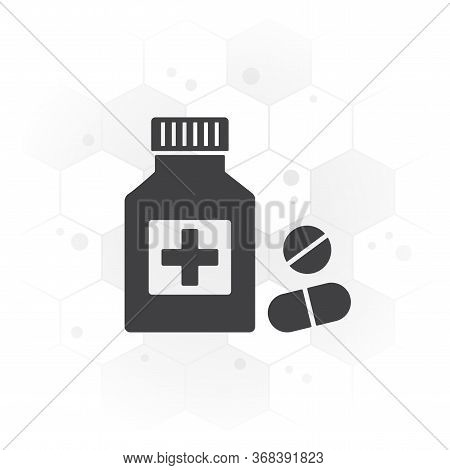Drugstore. Medicine Bottle And Pills. Medicament On Hexagon Background. Vector Illustration
