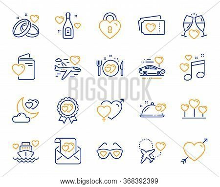 Honeymoon Line Icons. Wedding Car, Marriage Rings, Love. Bridal Champagne, Valentine Heart Icons. Co