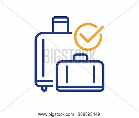Airport Baggage Reclaim Line Icon. Airplane Check In Luggage Sign. Flight Checked Bag Symbol. Colorf