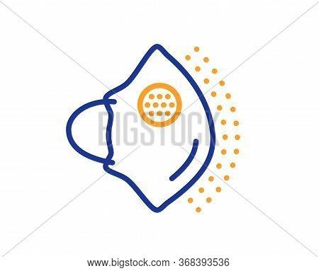 Medical Mask N95 Line Icon. Safety Breathing Respiratory Mask Sign. Coronavirus Face Protection Symb