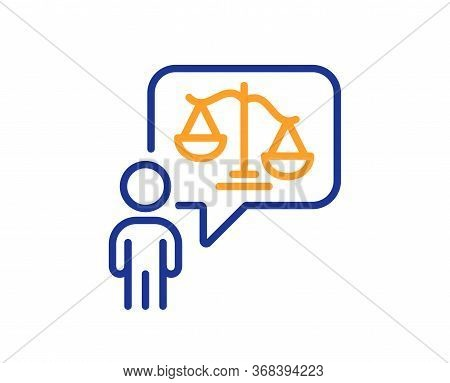 Lawyer Line Icon. Court Judge Sign. Justice Scale Symbol. Colorful Thin Line Outline Concept. Linear