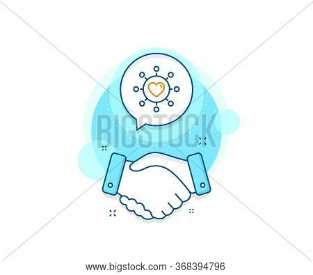 Relationships Network Sign. Handshake Deal Complex Icon. Love Dating Line Icon. Valentines Day Or He