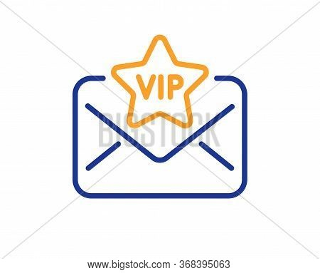 Vip Letter Line Icon. Mail For Very Important Person Sign. Exclusive Privilege Symbol. Colorful Thin