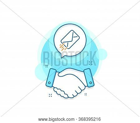 Message Correspondence Sign. Handshake Deal Complex Icon. Mail Delivery Line Icon. E-mail Symbol. Ag