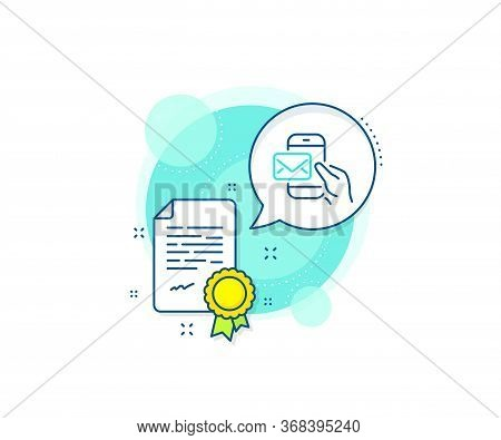 New Newsletter Sign. Certification Complex Icon. Messenger Mail Line Icon. Phone E-mail Symbol. Cert