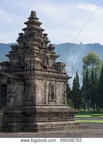 Candi Arjuna Hindu Temple Main Shrine At Sunrise, In Arjuna Complex, Dieng Plateau, Central Java, In