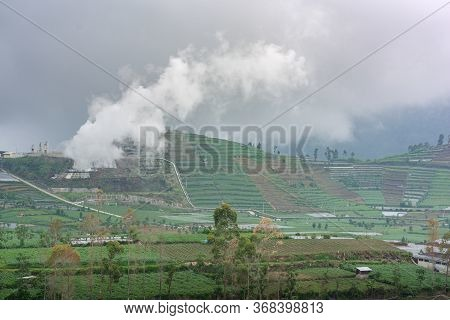 A Volcanic Sulphur Plant Releases Fumes Over Dieng Agricultural Plateau In Central Java, Indonesia