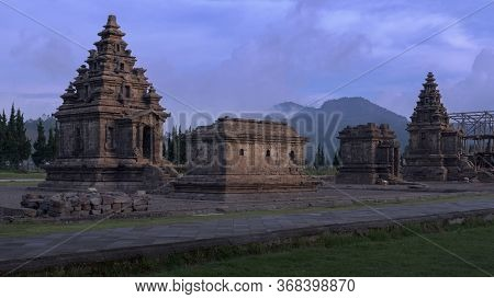 The Arjuna Temple Complex Is An Old Hindu Sanctuary In Dieng Plateau, Central Java, Indonesia