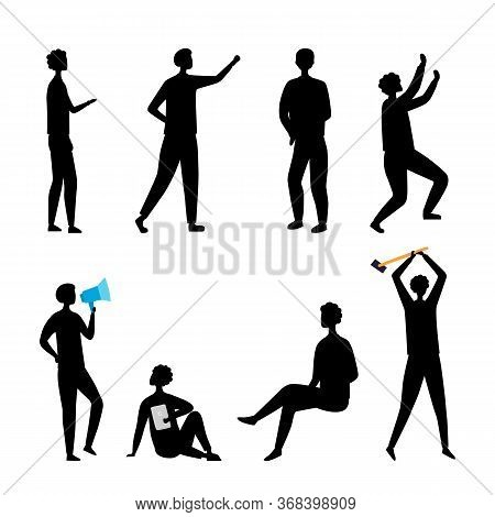 Leadership, Hr, Teamwork Concept. Collection Of Business People Silhouettes In Different Poses. Set