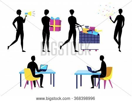 Concept Of Self Employed Business People Silhouettes. Characters Do Shopping, Give Presents, Work An